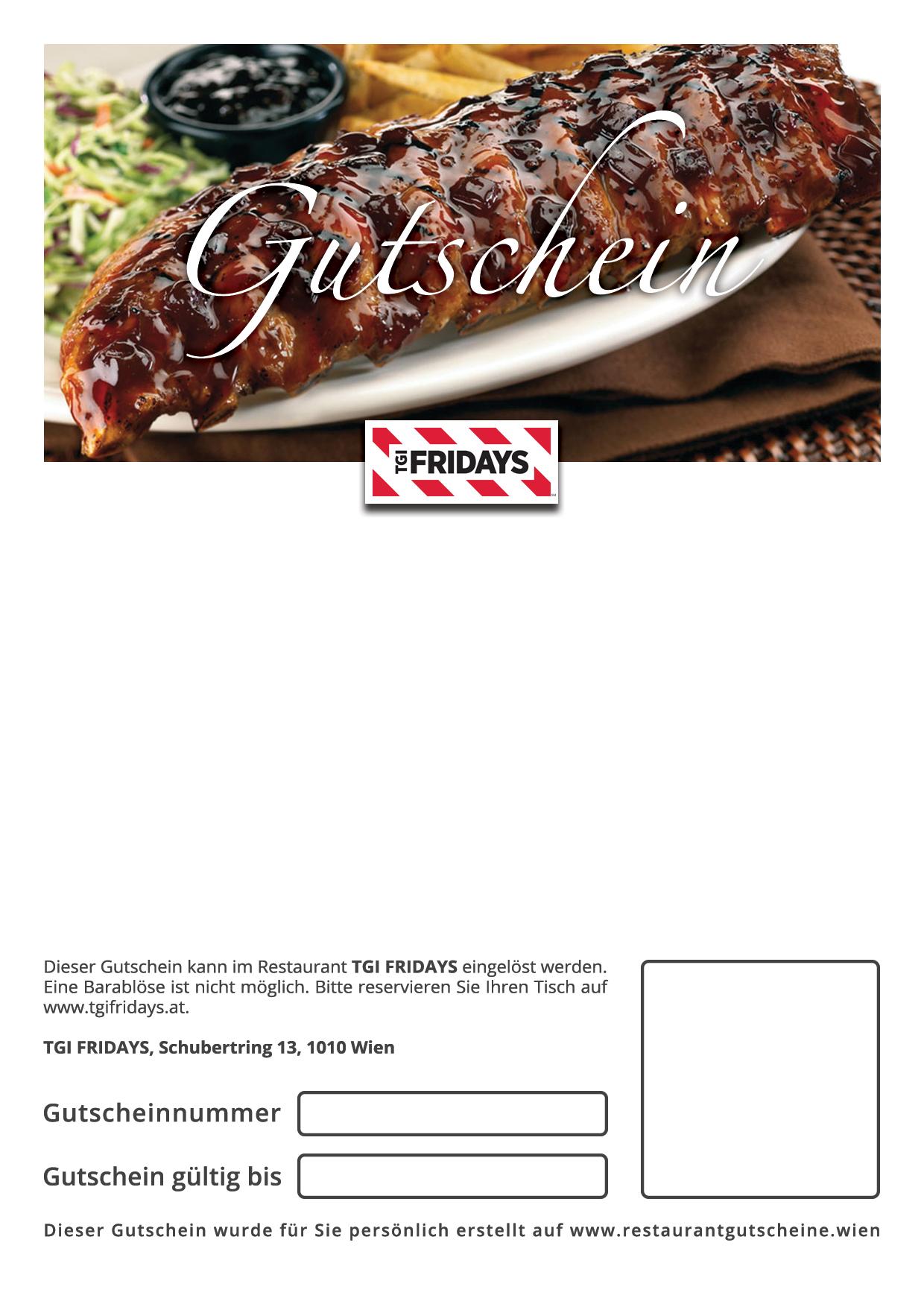 TGI Fridays - Geschenkgutschein zum Selbstausdrucken | Restaurant ...